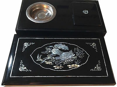 Beautiful Antique Mother of Pearl Lacquer Smoking Set Box + Ashtray -- Vietnam