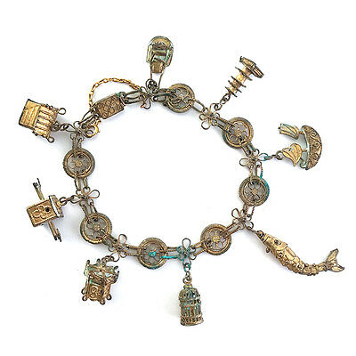 Antique Chinese Gilt Filigree Metal Novelty Charm Bracelet, Early 20th C.