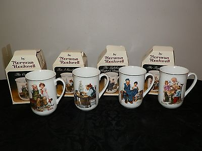 Set of 4 Norman Rockwell 1982 Porcelain Collectible Mugs TC 1,2,3, and 4 NEW