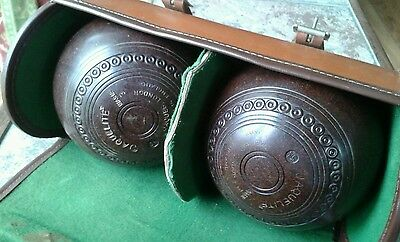 Vintage Pair of Jaques of London 1954 Lawn Bowls With Leather Case RARE
