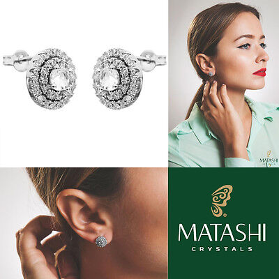 18K White Gold Plated Stud Earrings w/3 Concentric Circles & Crystals by Matashi