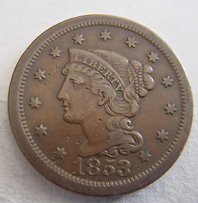1853 VF Braided Hair Large Cent w/Complete Liberty