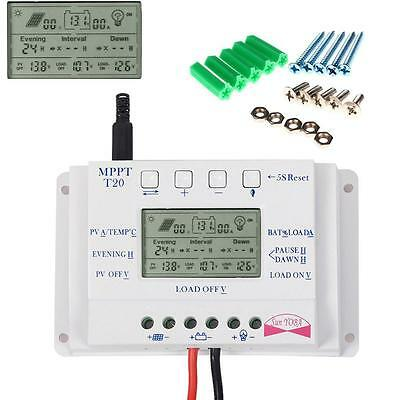 12V/24V LCD 20A MPPT Solar Panel Battery Charge Controller Three-time +Screws CB