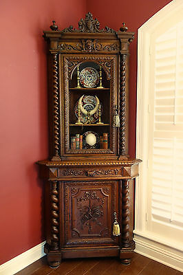 TALL Antique French Carved Oak Barley Twist CORNER Cabinet Renaissance Bookcase