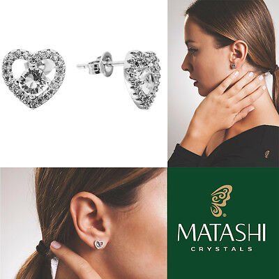 18K White Gold Plated Stud Earrings Crystal Centered Heart & Crystals by Matashi