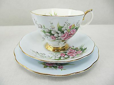 ROYAL ALBERT CUP SAUCER DESSERT PLATE TRIO - LILY OF THE VALLEY  - 60's - 70's