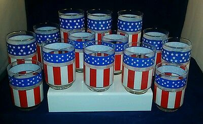 14 Vintage USA Flag Stars and Stripes Fourth of July Glassware