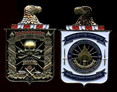 challenge coin  cia  CENTRAL INTELLIGENCE AGENCY  police 3 inch tall skull eagle
