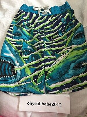 EUC Brothers by Justice Boys Swim Trunks-Board Shorts Sharks Size Small 8