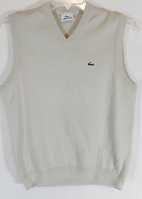 Vintage LACOSTE MEN's Beige Tan V-Neck Sweater Vest Size 3 (Small)