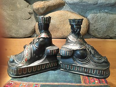 Rare Bronze Champleve Chinese Pair Bookends Antique Orientalist