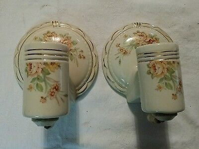 Lot Of 2 9318 Vintage Porcelain BATHROOM Sconce Wall Light Fixture With Sockets