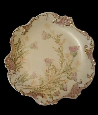 JPL FRANCE Hand Painted Limoges Thistle Floral Flower Scalloped Edge Plate
