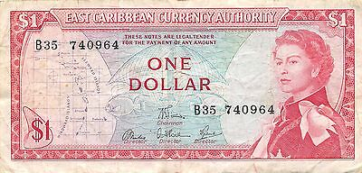 East Caribbean States $1  ND. 1965  P 13 Series B35 Circulated Banknote MX30W