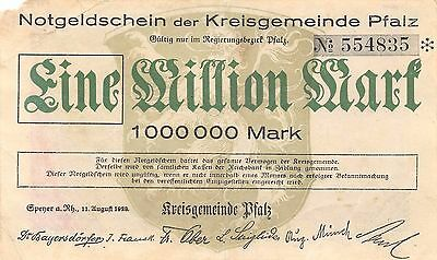Germany / Pfalz 1  Million Mark 11.18.1923  circulated Banknote Ger.2