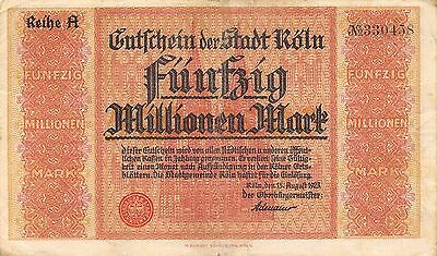 Germany / Koln  50 Million Mark  15.8.1923 Series A circulated Banknote Ger.2