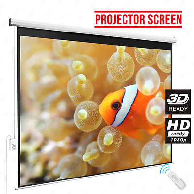 120'' 4:3 HD/3D Electric Projector Projection Screen Remote Control Home Cinema