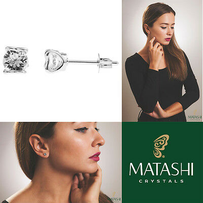 18K White Gold Plated Stud Earrings Set /Heart and Crystal & Crystals by Matashi