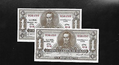 Bolivia  1928  2 Consecutive serial numbers  UNC-detail