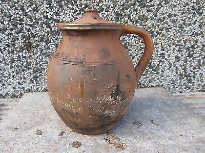 Antique Old Primitive Redware Charming Pot Potery Pitcher Jug With Lid