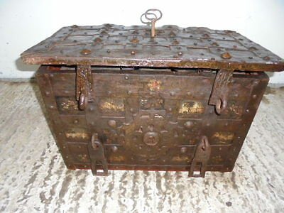 Antique Old Iron Engraved  Strongbox Chest With Key Locks And Unlocks