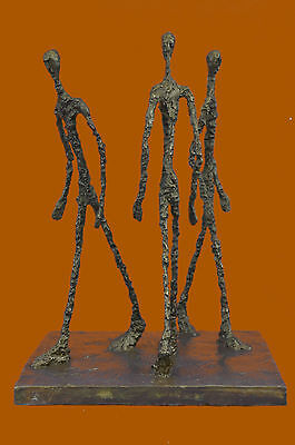 Hot Cast 3 Walking Stick by Giacometti Bronze Sculpture Marble Base Figurine Art