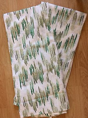 VGC Vintage Pair 60s/ 70s Green Patterned Curtains