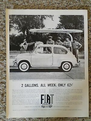1960 2 Gallons All Week Only 62 Cents FIAT Car Automobile Photo Magazine AD