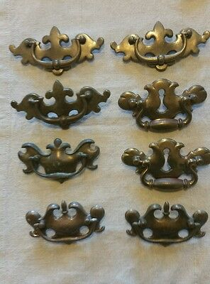Vintage brass pulls lot of 8 variety hardware handles colonial Chippendale