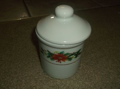 Royal Norfolk Pointsettia Holly Sugar Bowl Decanter With Lid