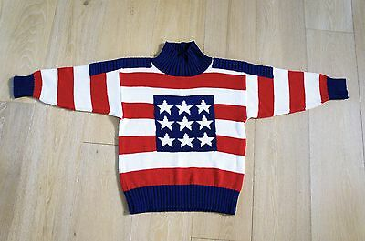 UNISEX Childrens Sz.12 Cotton Pullover Sweater RED WHITE & BLUE Beverly Hills