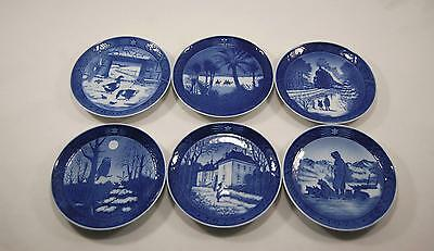 6x Royal Copenhagen Blue & White Winter Christmas Holiday Decorative Plate 69-78