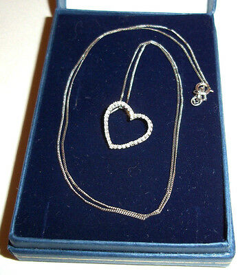 Not Scrap Gold- White 9ct Gold 375 Real Diamond Set Heart  pendant Necklace