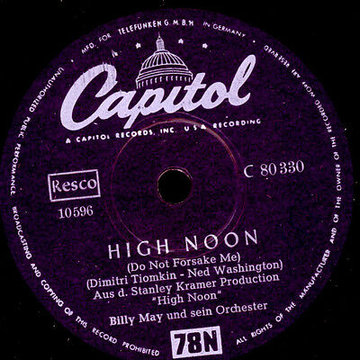 """BILLY MAY & ORCH. """"High Noon""""  ...Do Not Forsake Me    -Jukebox Hit- 78rpm S3855"""