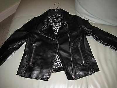 Girls faux leather bikers jacket age 10-11 EXCELLENT CONDITION