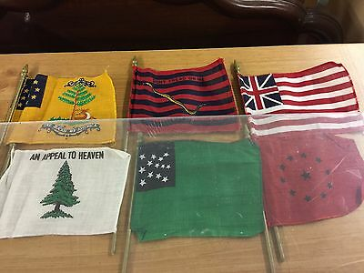 "45 pc lot Vintage Miniature US Historic Flags Made in USA 11"" Tall  w/ Box"