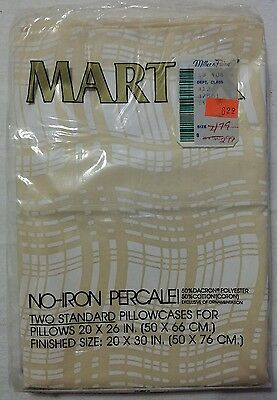 VTG Martex No-Iron Percale 2 Pillow Cases Standard Dacron Cotton Peach White NOS
