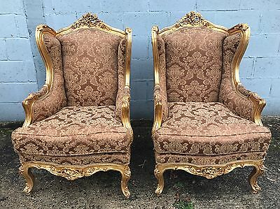 Antique, Rococo, Vintage, French, Saloon, Gilt Gold X2 Chairs