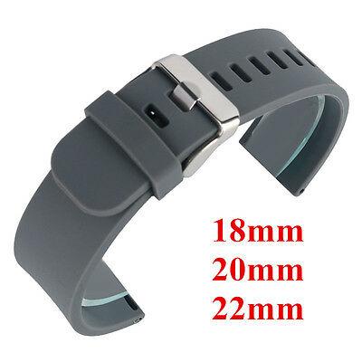 18mm 20mm 22mm Silicone Watch Band Army Sport Wrist Rubber Mens Women Strap