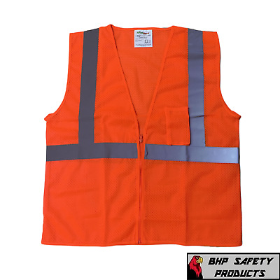 Liberty Reflective Traffic Safety Vest Hi-Vis Orange C16002F Class Ii All Sizes