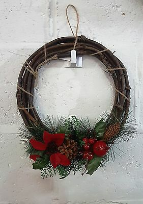 30cm Artifical Christmas Wreath Twig Ring With Berries Poinsettia Cones Ivy Fern