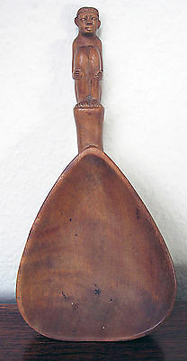 Vintage South East Asian Carved Wooden Male Figural Ladle Spoon, Philippines