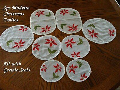 FAB Unused Vtg MADEIRA Christmas Doilies Placemats GREMIO Hand Embroidered