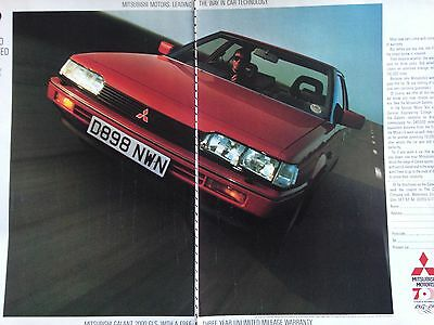 "MITSUBISHI GALANT 2000 GLS # ORIGINAL 1987 AUTOMOTIVE ADVERT # 12"" x 18"""