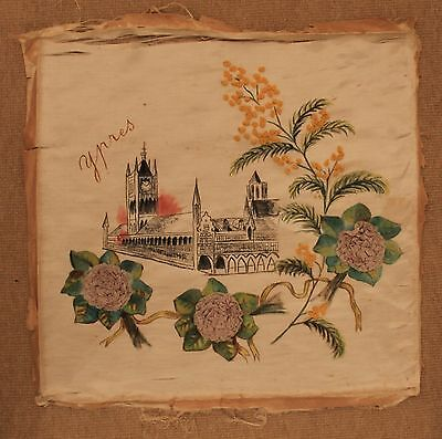 Ypres, Cloth Hall, large hand-decorated silk, embroidered flowers, World War One