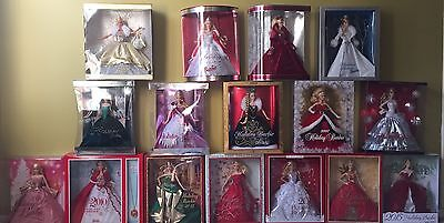 Lot Of 16 Holiday Barbie Dolls 2000-2015 Complete Collection BARBIE DOLLS LOOK@@