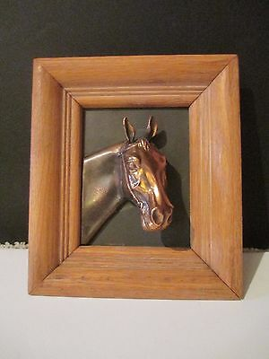 """VINTAGE COPPER 3-D HORSE HEAD in WOOD FRAMED PLAQUE 6 1/2"""" x 7 1/2"""""""