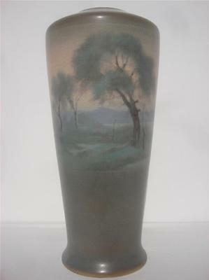 Rookwood Pottery Scenic Vellum Vase Landscape Painted Frederick Rothenbusch 1919