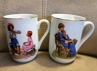 """Norman Rockwell Cups Vintage Authentic """"Bedtime & Music Master"""" lot of 2"""