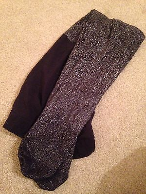 Marks And Spencer Girls Black Sparkle Tights Ideal For Xmas Parties Age 7-8 Year
